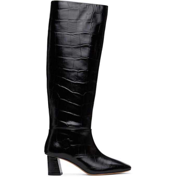 3.1 Phillip Lim Black Croc Tess Tall Boots