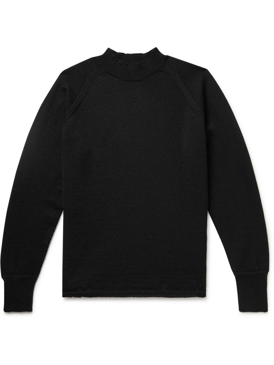 Photo: Margaret Howell - MHL Merino Wool Mock-Neck Sweater - Black