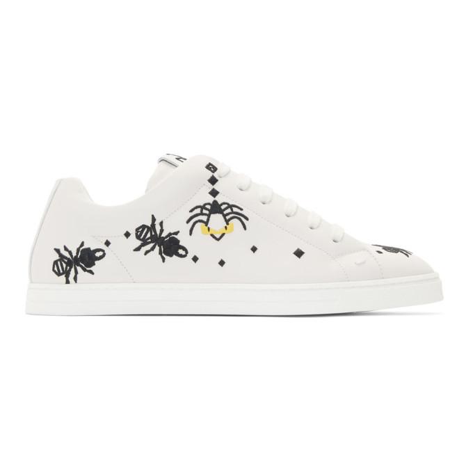 Photo: Fendi White Leather Super Bugs Sneakers