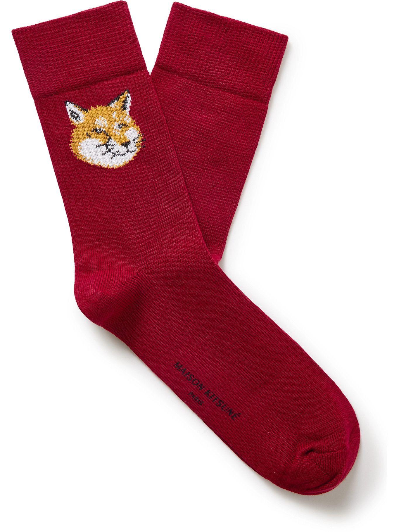 Photo: Maison Kitsuné - Intarsia Stretch Cotton-Blend Socks - Red