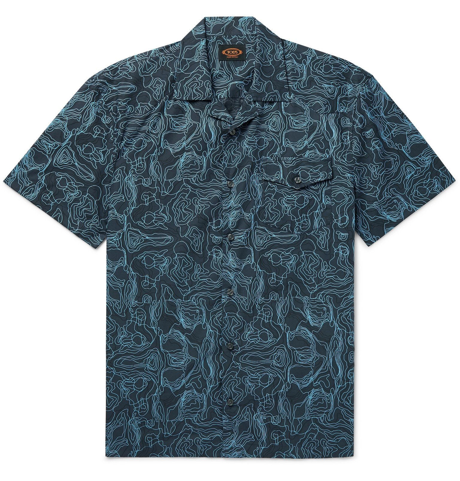 Photo: Tod's - Camp-Collar Printed Cotton Shirt - Blue