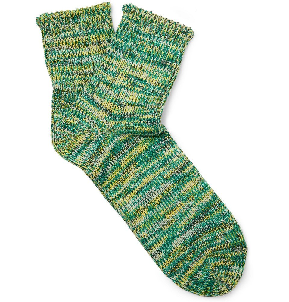 Photo: Mr P. - Mélange Cotton-Blend Socks - Teal