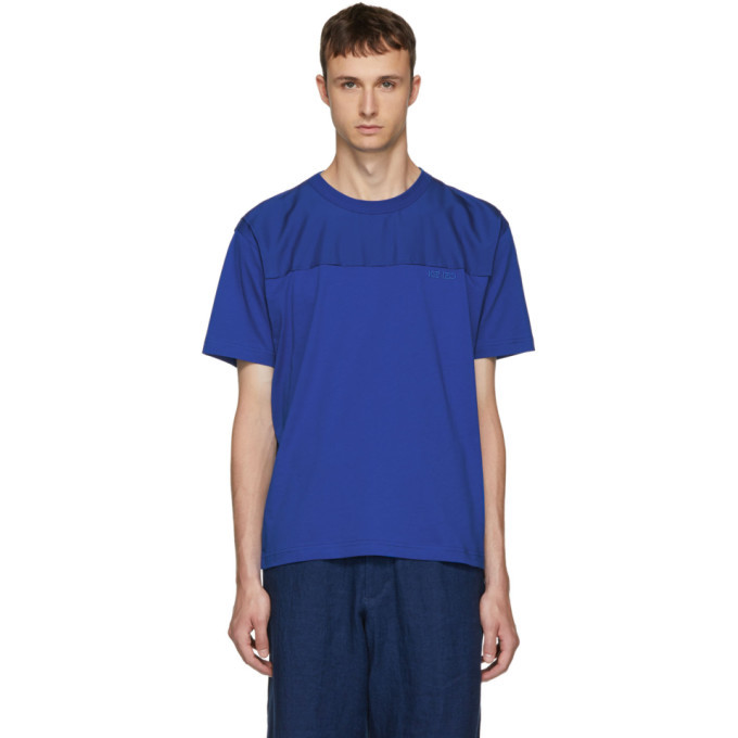 Photo: Kenzo Blue Panelled Jersey T-Shirt