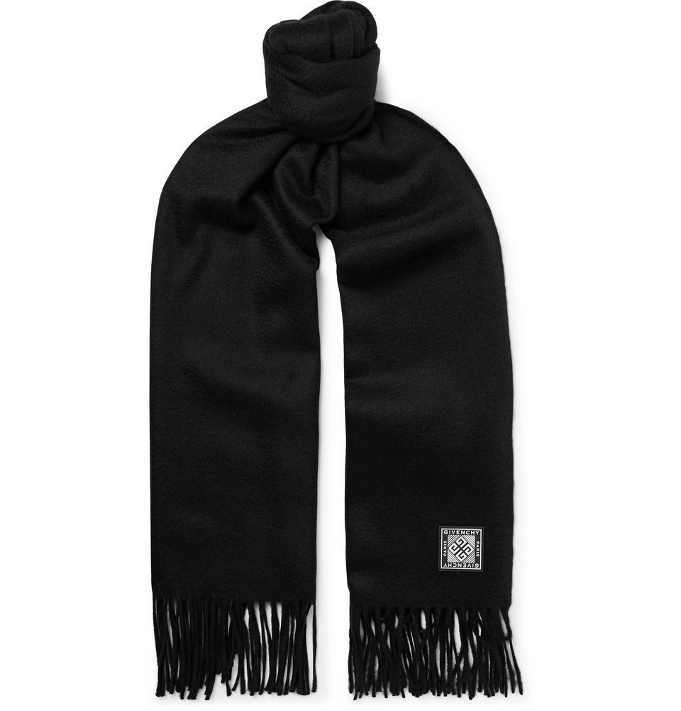 Photo: Givenchy - Logo-Appliquéd Wool and Cashmere-Blend Scarf - Black