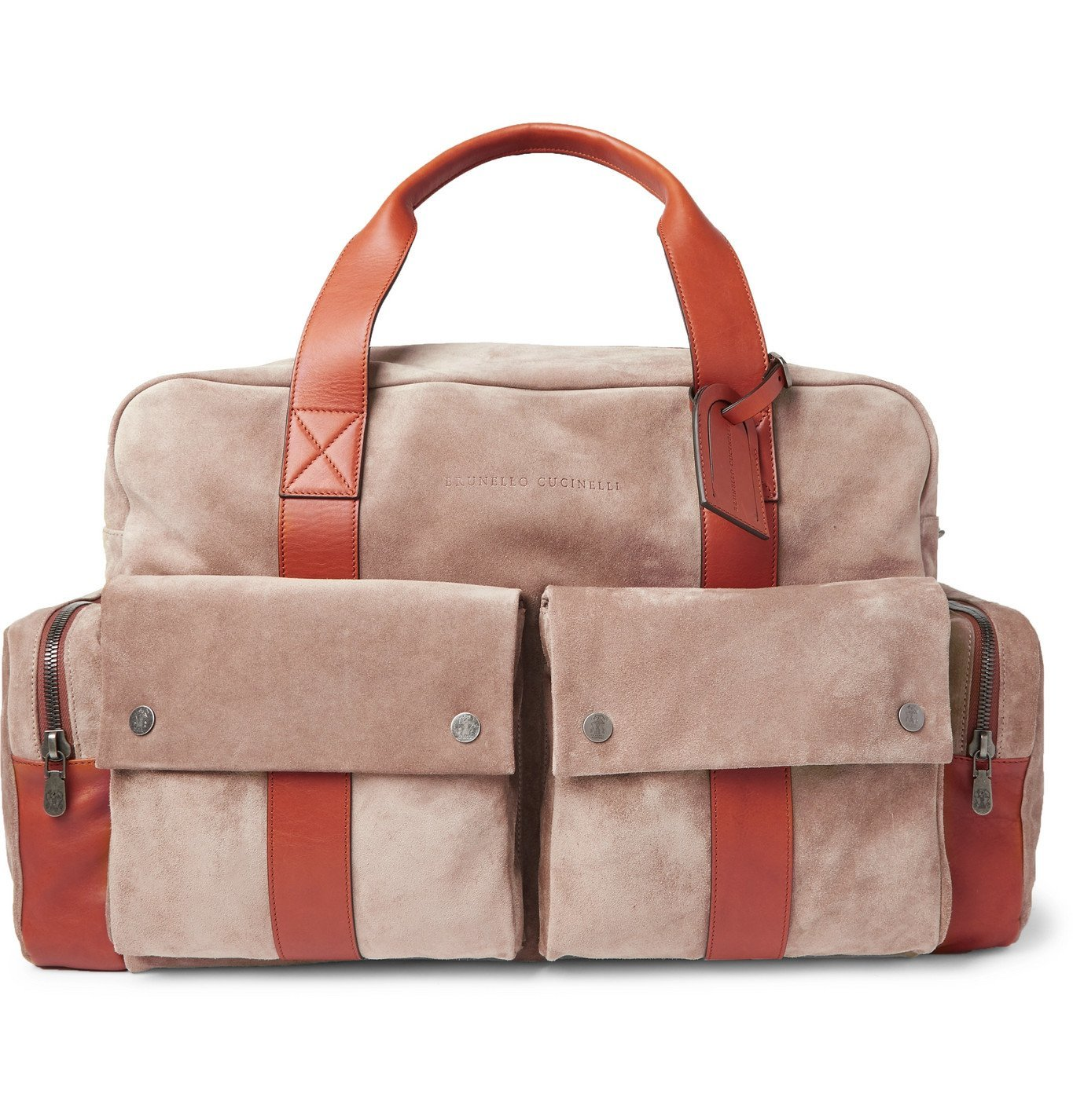 Photo: Brunello Cucinelli - Leather-Trimmed Suede Holdall - Neutrals