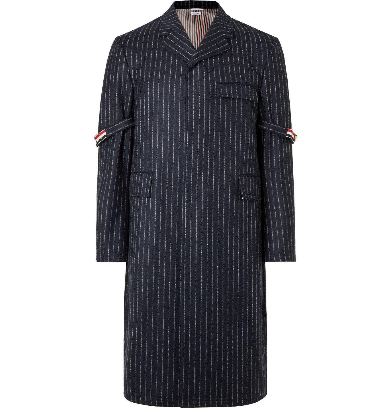 Photo: THOM BROWNE - Grosgrain-Trimmed Pinstriped Wool Coat - Blue