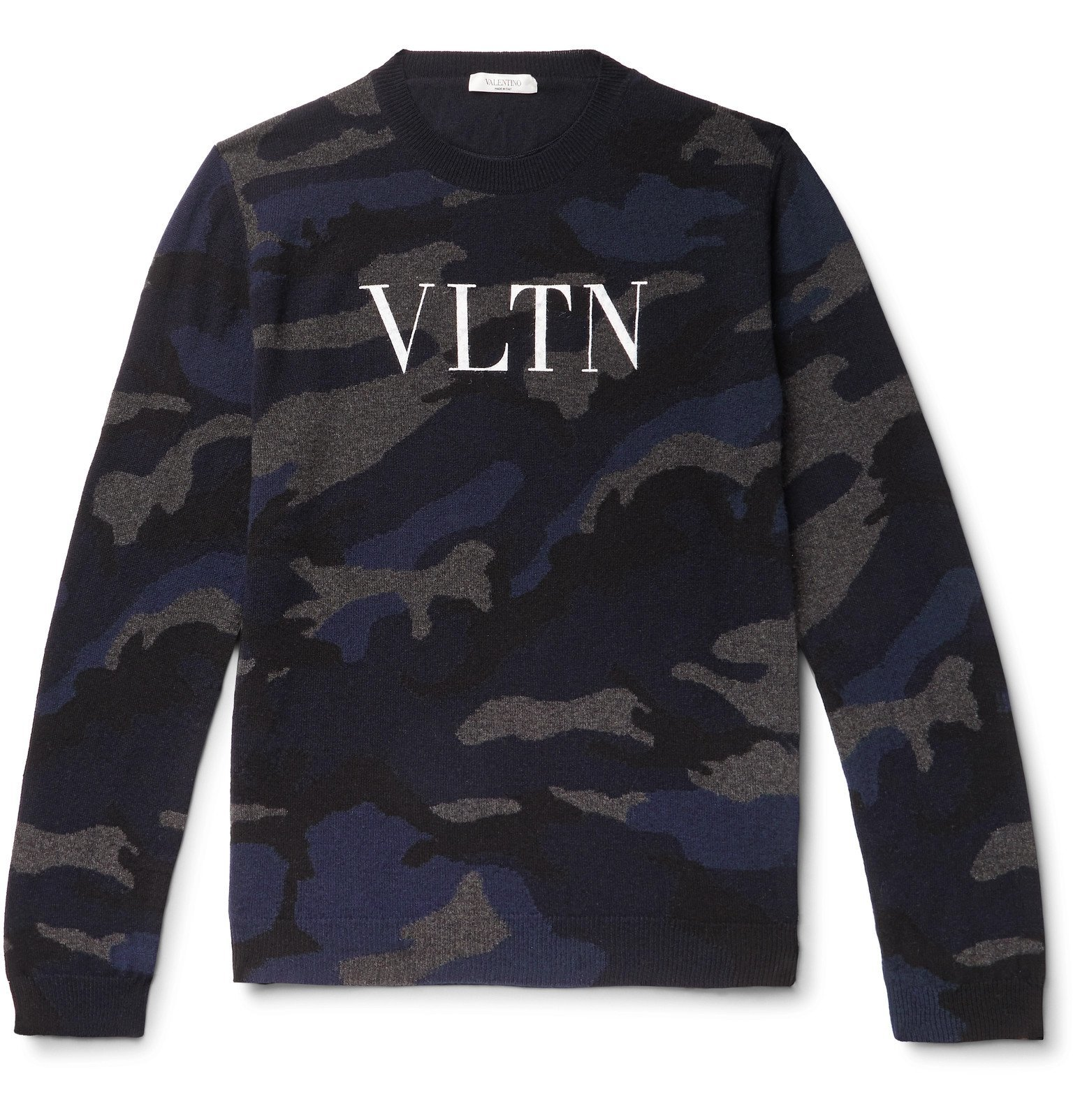 Photo: Valentino - Logo-Painted Camouflage-Intarsia Cashmere Sweater - Blue