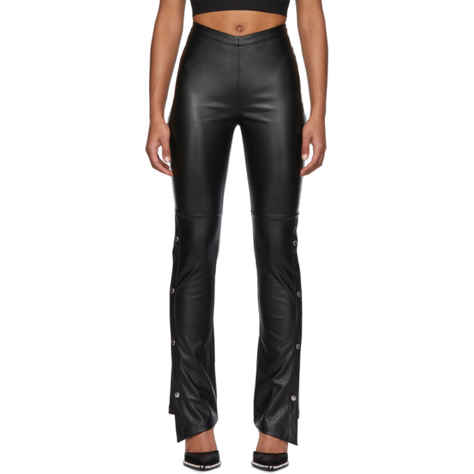 Photo: alexanderwang.t Black Faux-Leather Side Snap Trousers