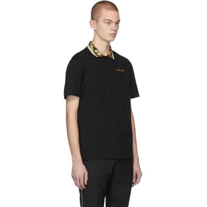Versace Black Barocco Collar Polo
