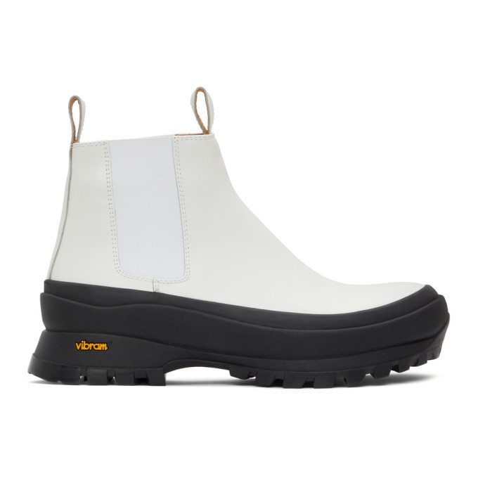 Photo: Jil Sander White Leather Chelsea Boots