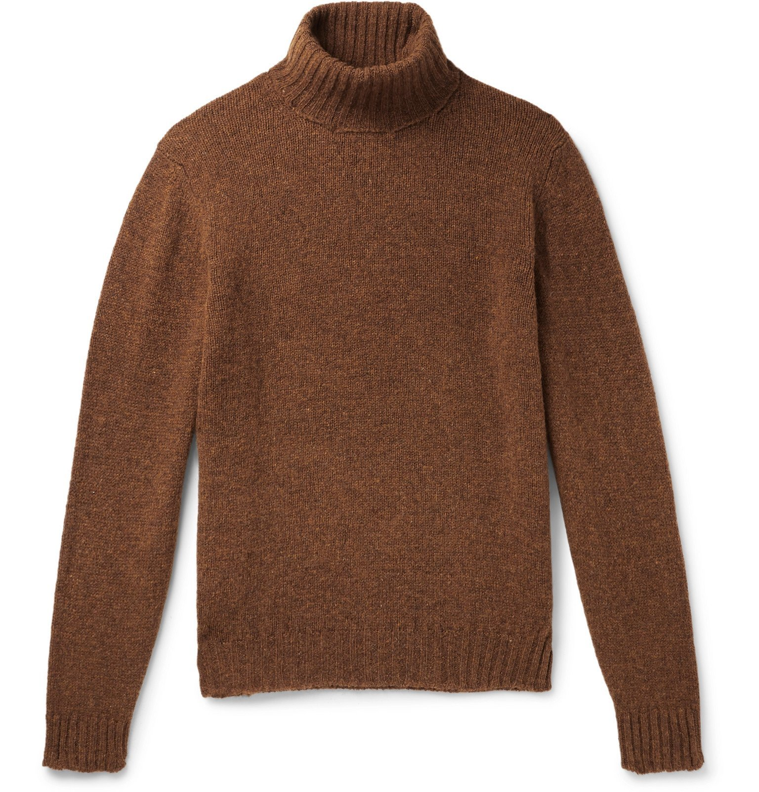 Photo: MAN 1924 - Mélange Wool Rollneck Sweater - Brown