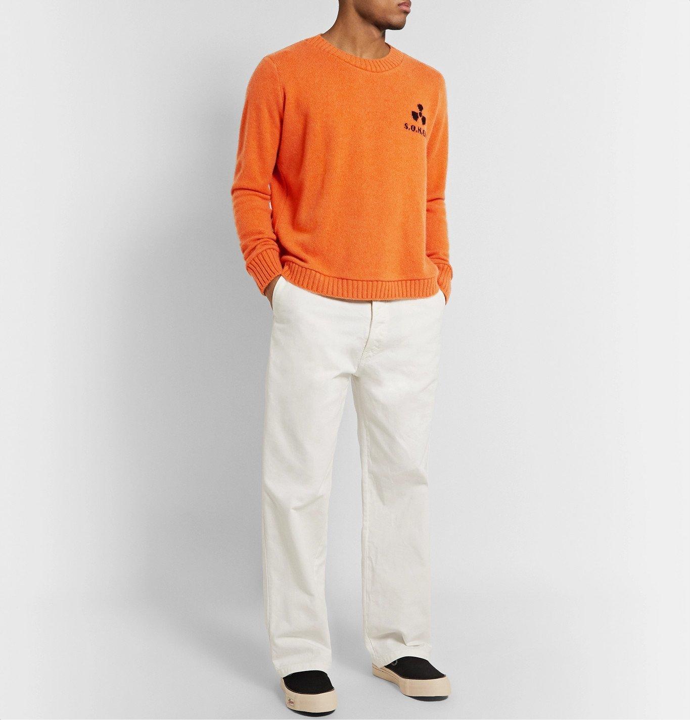 The Elder Statesman - Total Meltdown Intarsia Cashmere Sweater - Orange