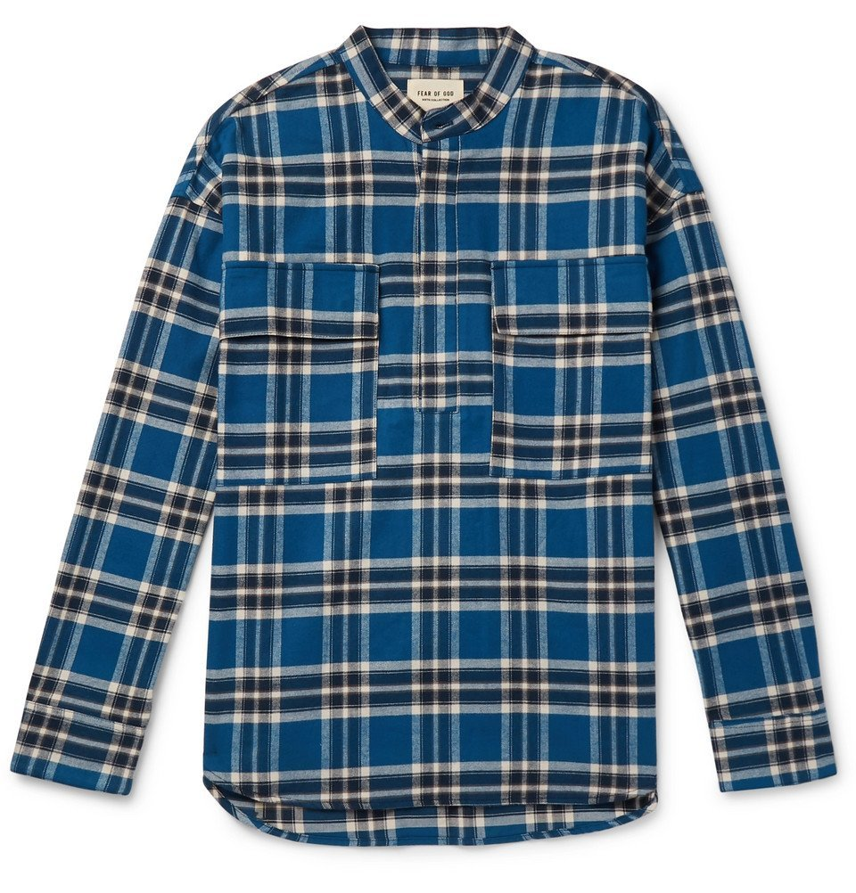 Photo: Fear of God - Grandad-Collar Checked Cotton-Flannel Shirt - Blue
