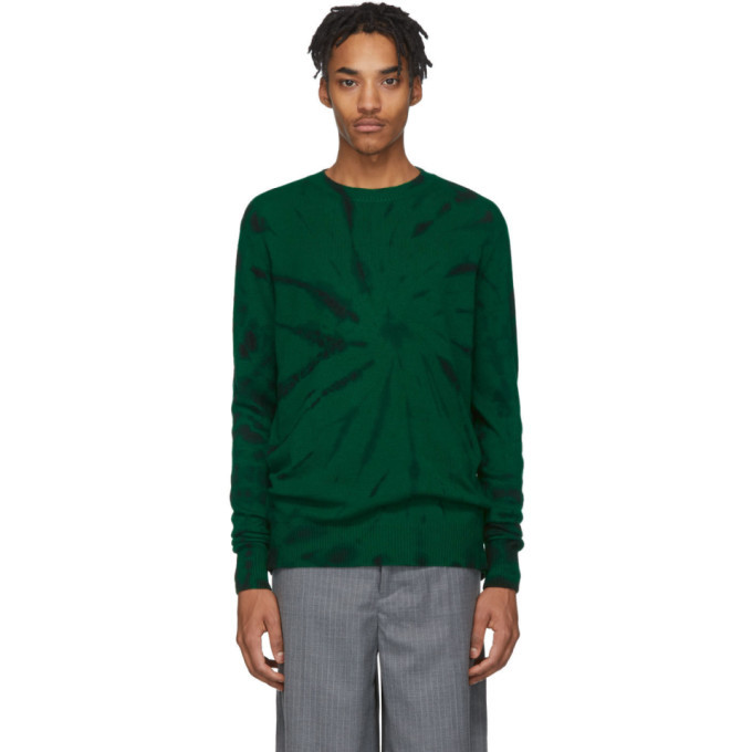 Photo: The Elder Statesman Green and Black Cashmere Tie-Dye Sweater