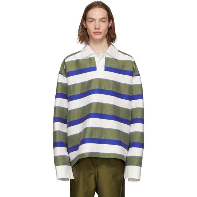 Botter White and Green Stripe Polo Jacket