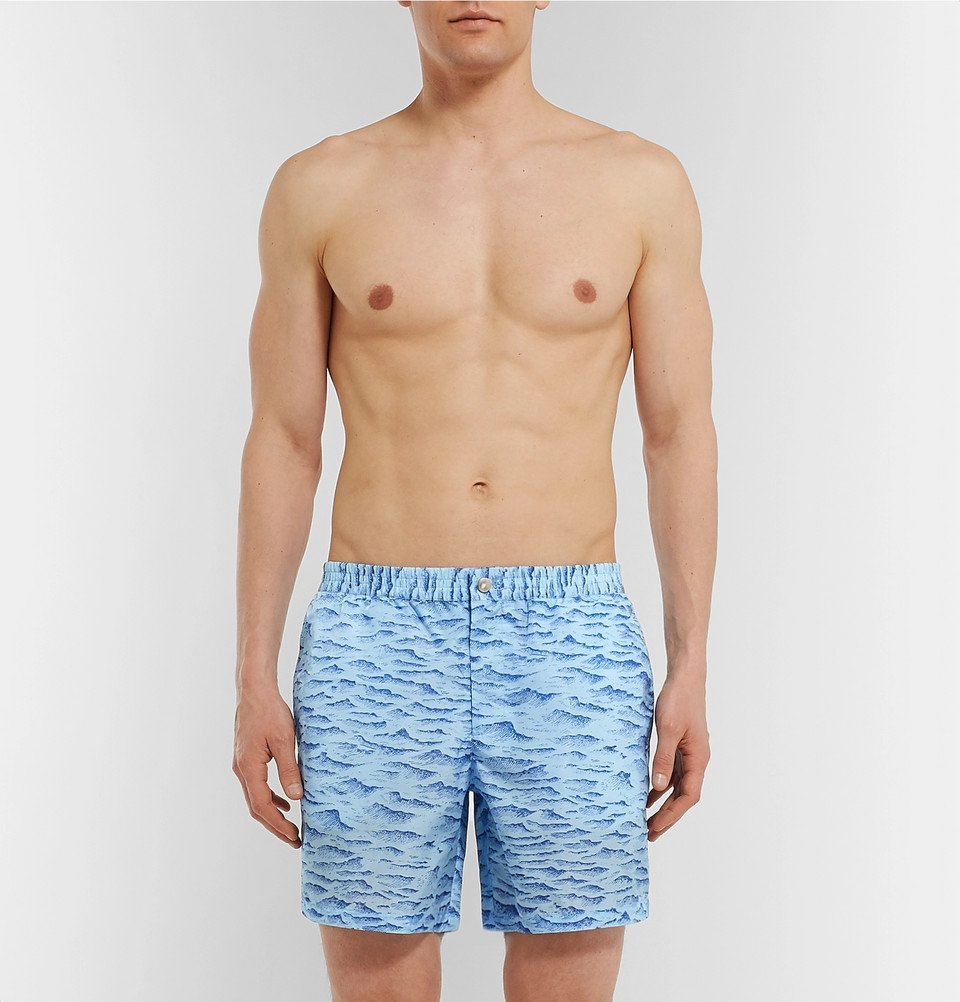Tod's - Mid-Length Printed Swim Shorts - Blue
