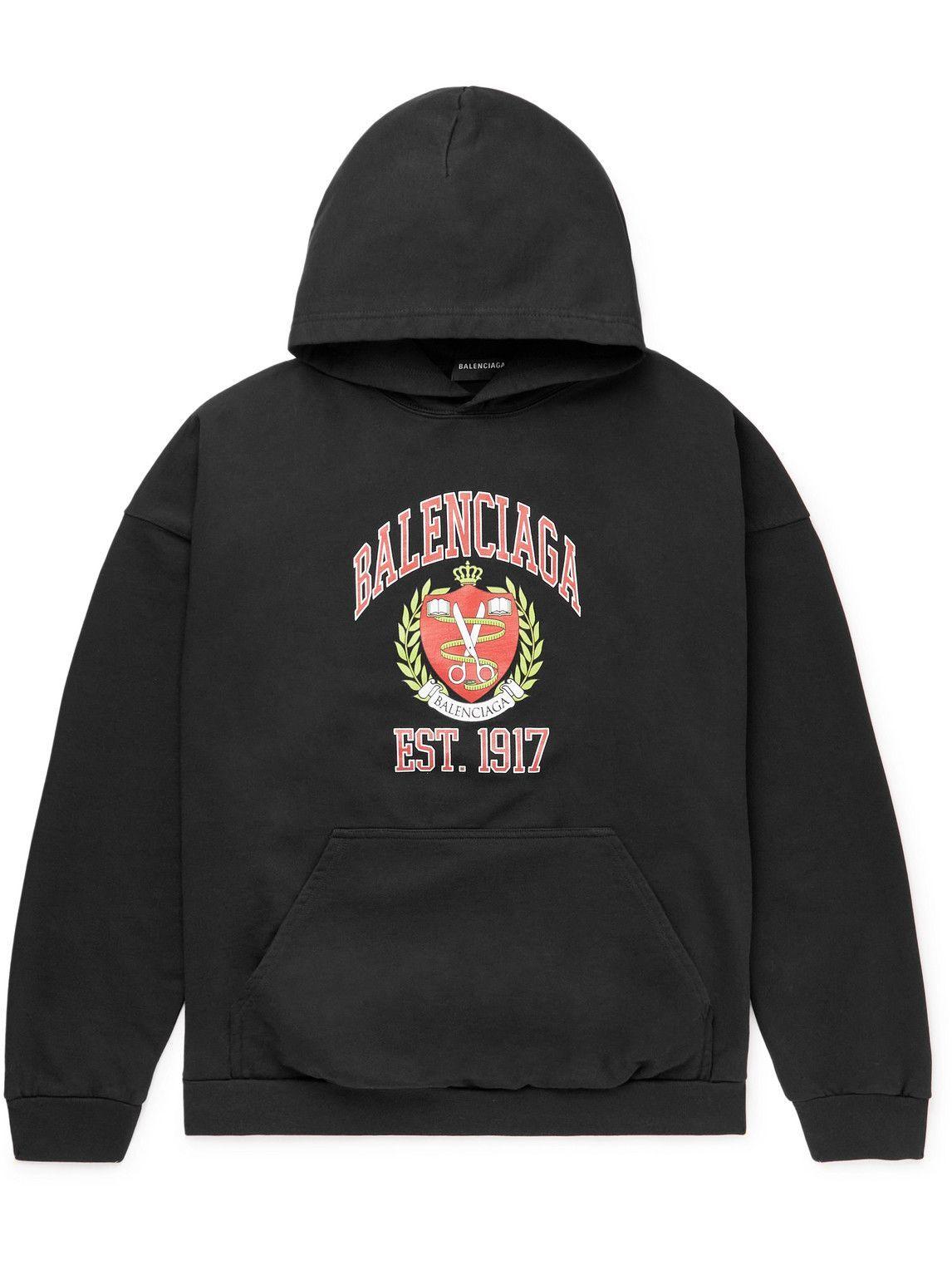 Photo: Balenciaga - Printed Cotton-Jersey Hoodie - Black