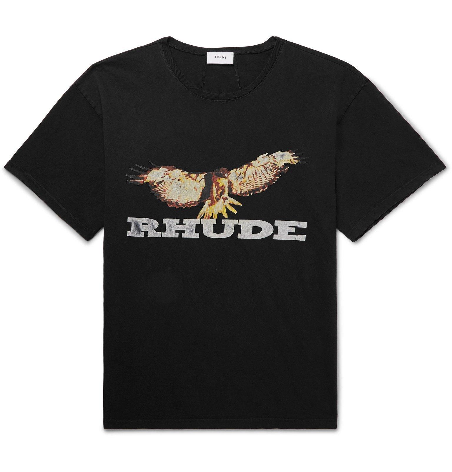 Photo: Rhude - Logo-Print Cotton-Jersey T-Shirt - Black