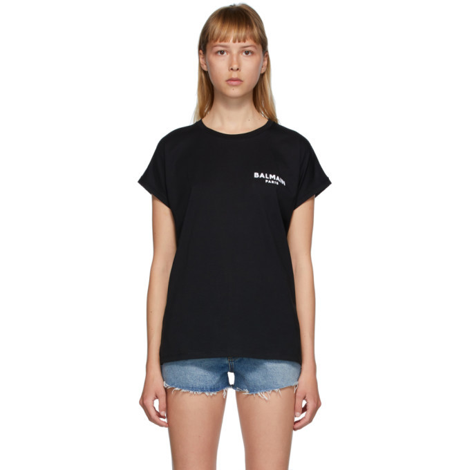 Photo: Balmain Black Flocked Logo T-Shirt