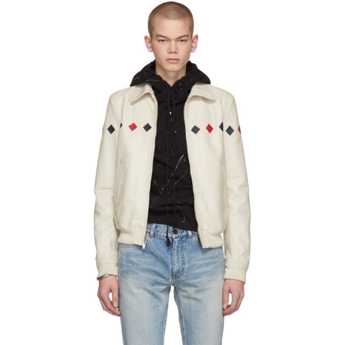 Photo: Saint Laurent White Leather Bomber Jacket