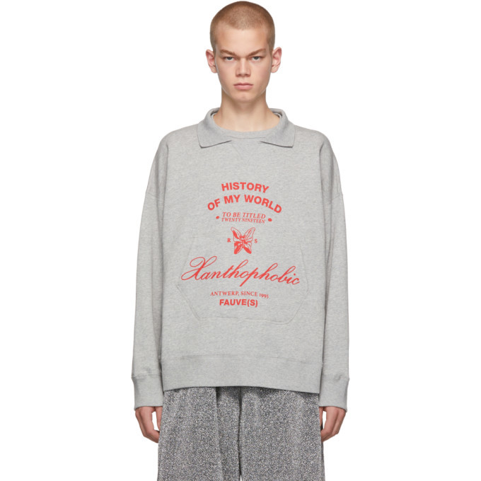 Photo: Raf Simons Grey Xanthophobic Collar Sweatshirt