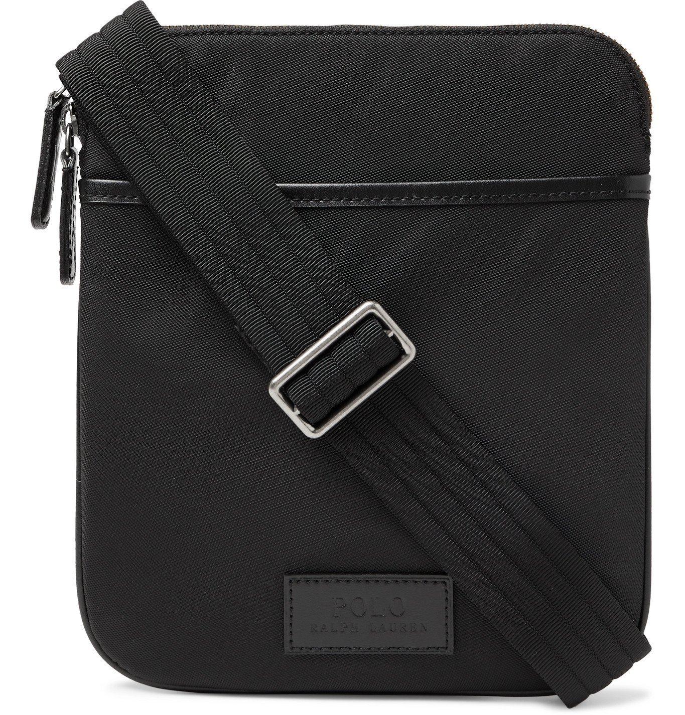 Photo: POLO RALPH LAUREN - Leather-Trimmed Nylon Messenger Bag - Black