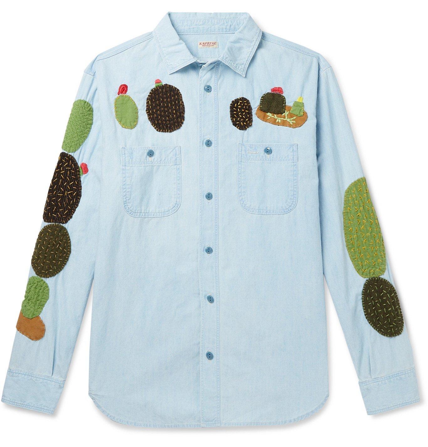 KAPITAL - Appliquéd Denim Shirt - Blue