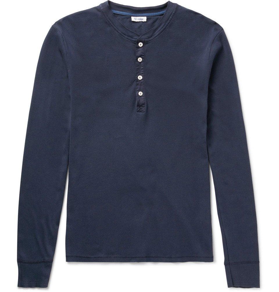 Schiesser - Slim-Fit Cotton-Jersey Henley T-Shirt - Men - Navy