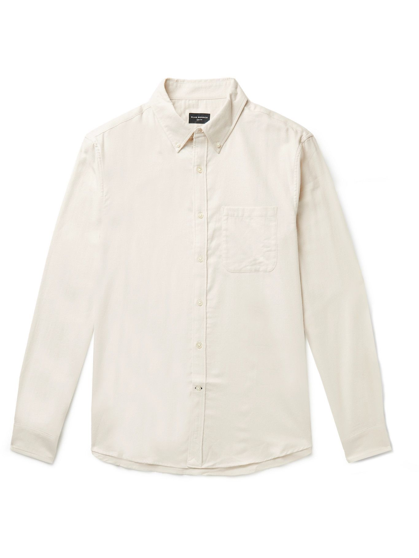 Photo: Club Monaco - Button-Down Collar Cotton-Flannel Shirt - Neutrals