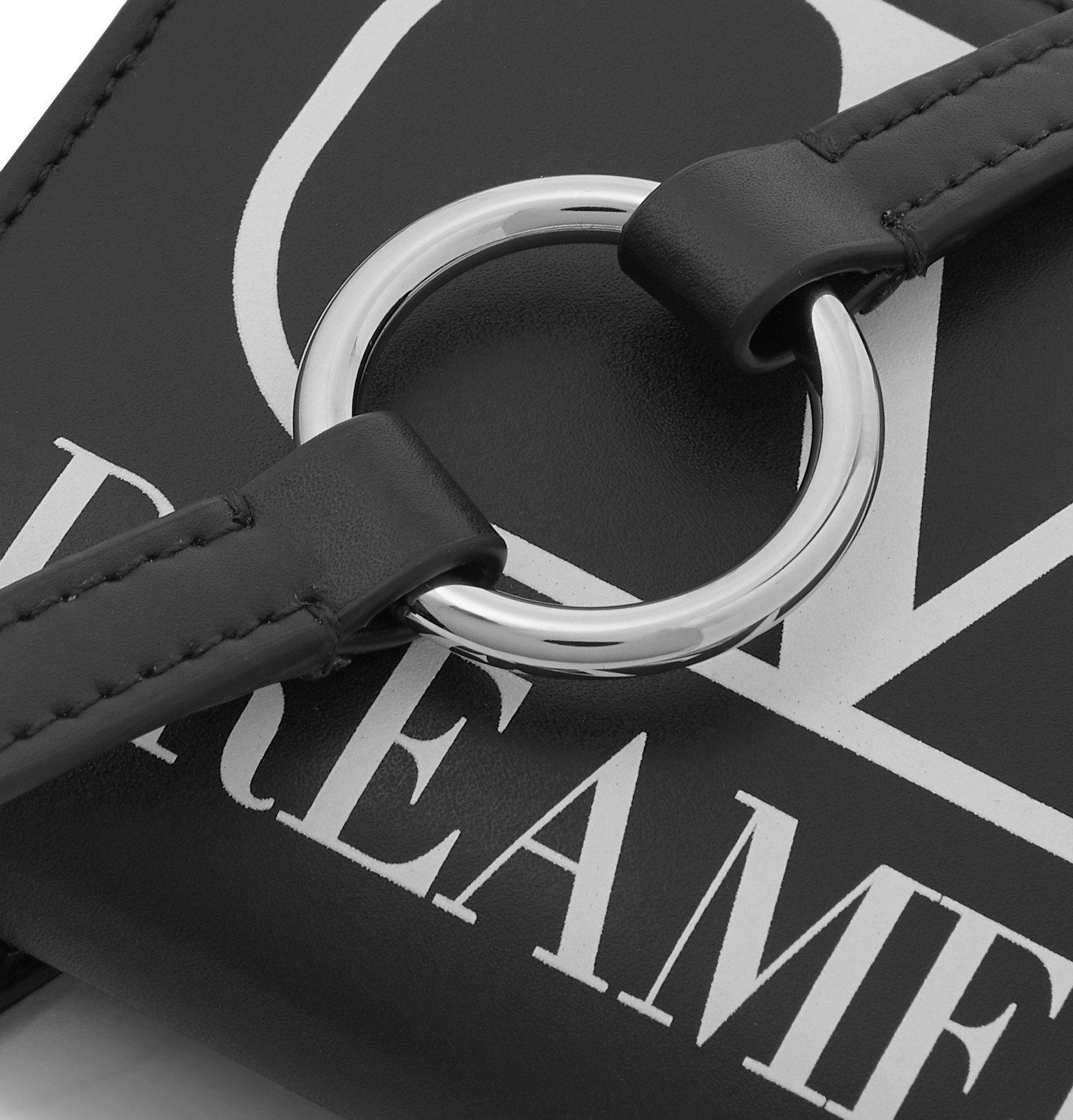Valentino - Valentino Garavani Logo-Print Leather Zipped Wallet with Lanyard - Black