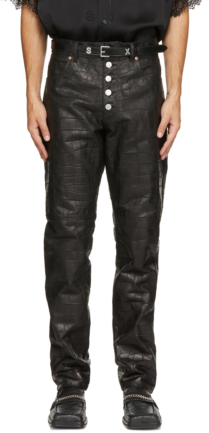 Photo: Martine Rose Black Croc Leather Jujy Trousers