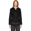 Sacai Black Melton Coat