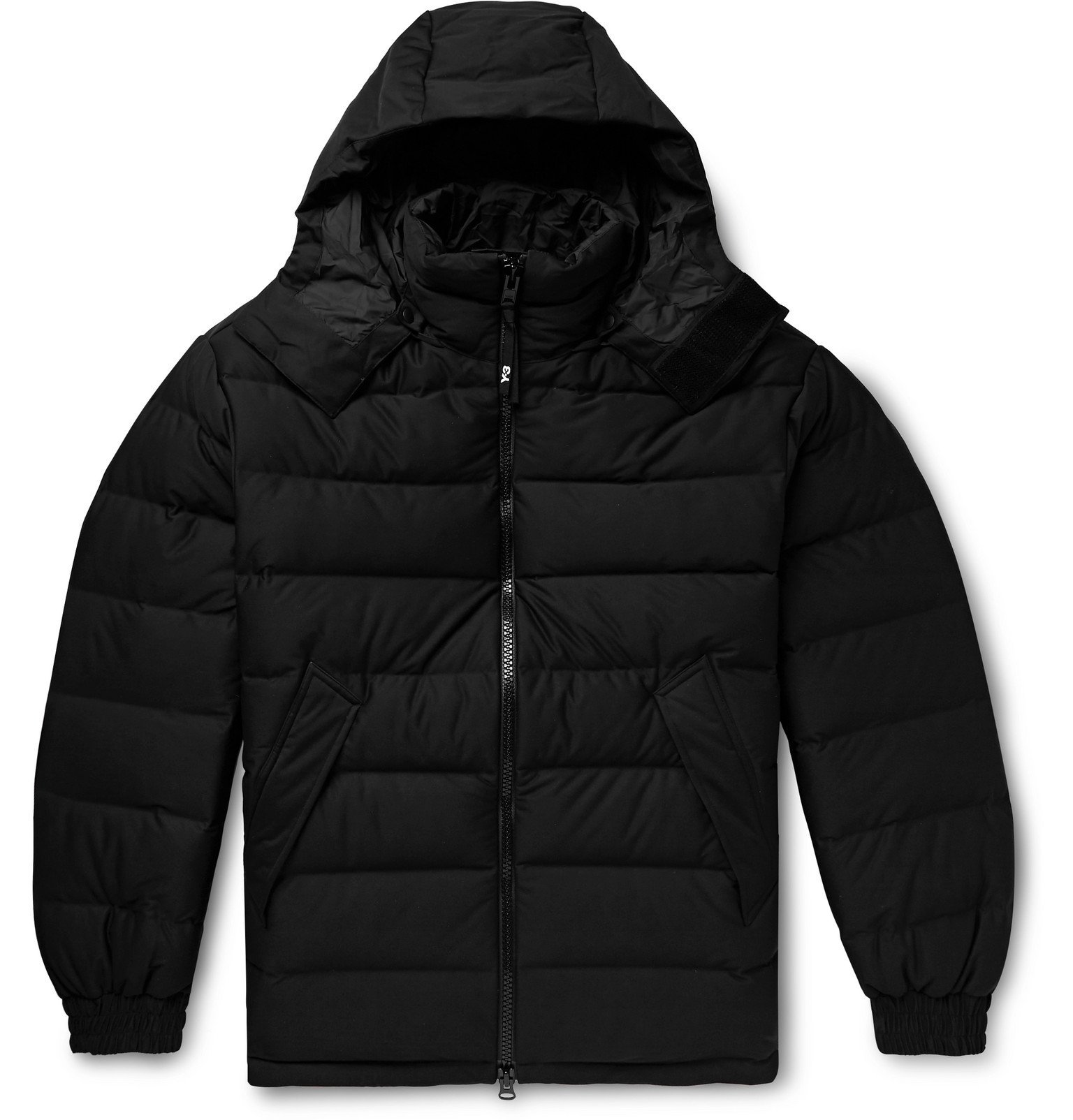 Y-3 - Logo-Print Quilted Shell Hooded Down Jacket - Black