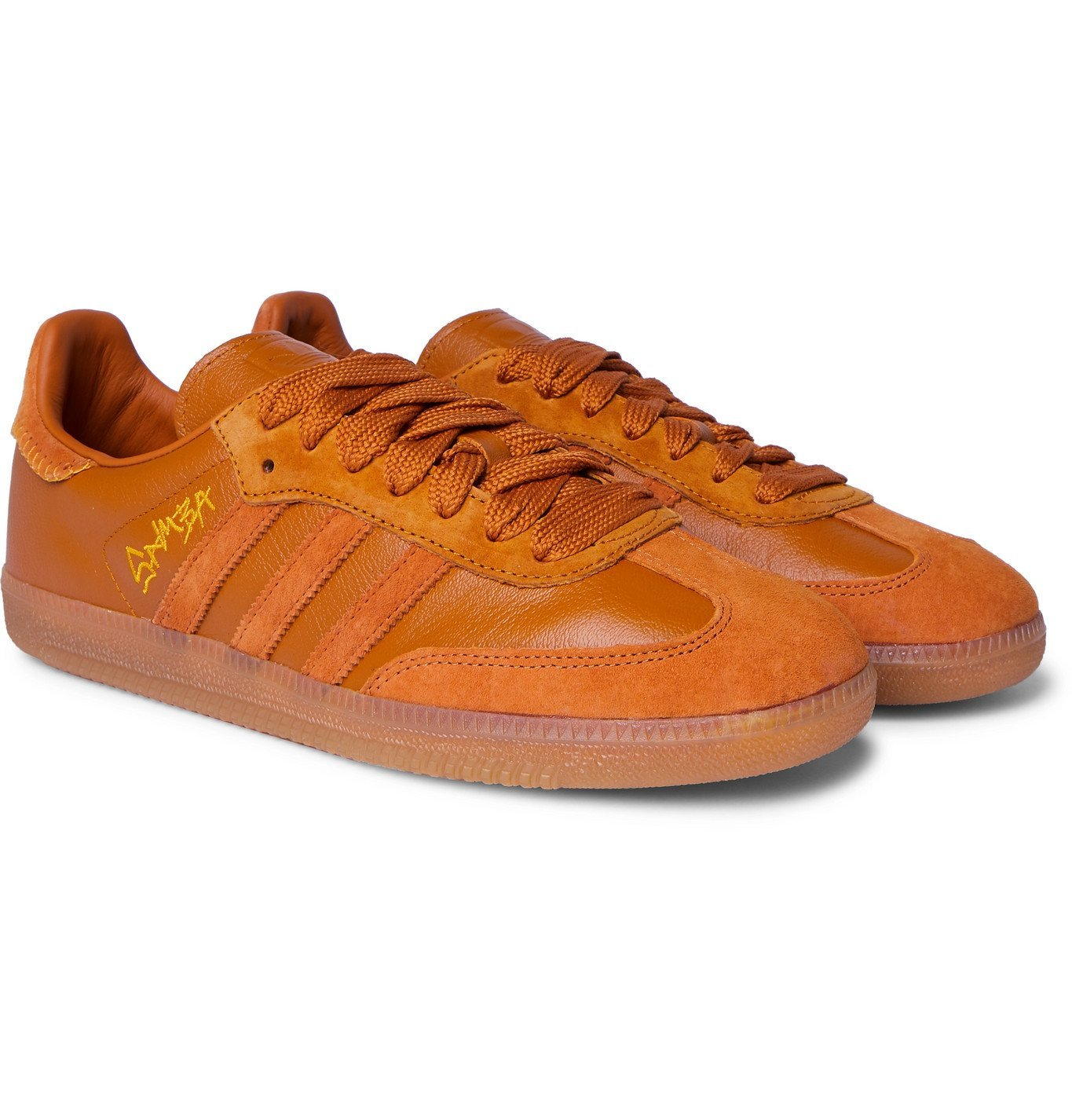 Photo: adidas Consortium - Jonah Hill Samba Embroidered Suede and Leather Sneakers - Brown