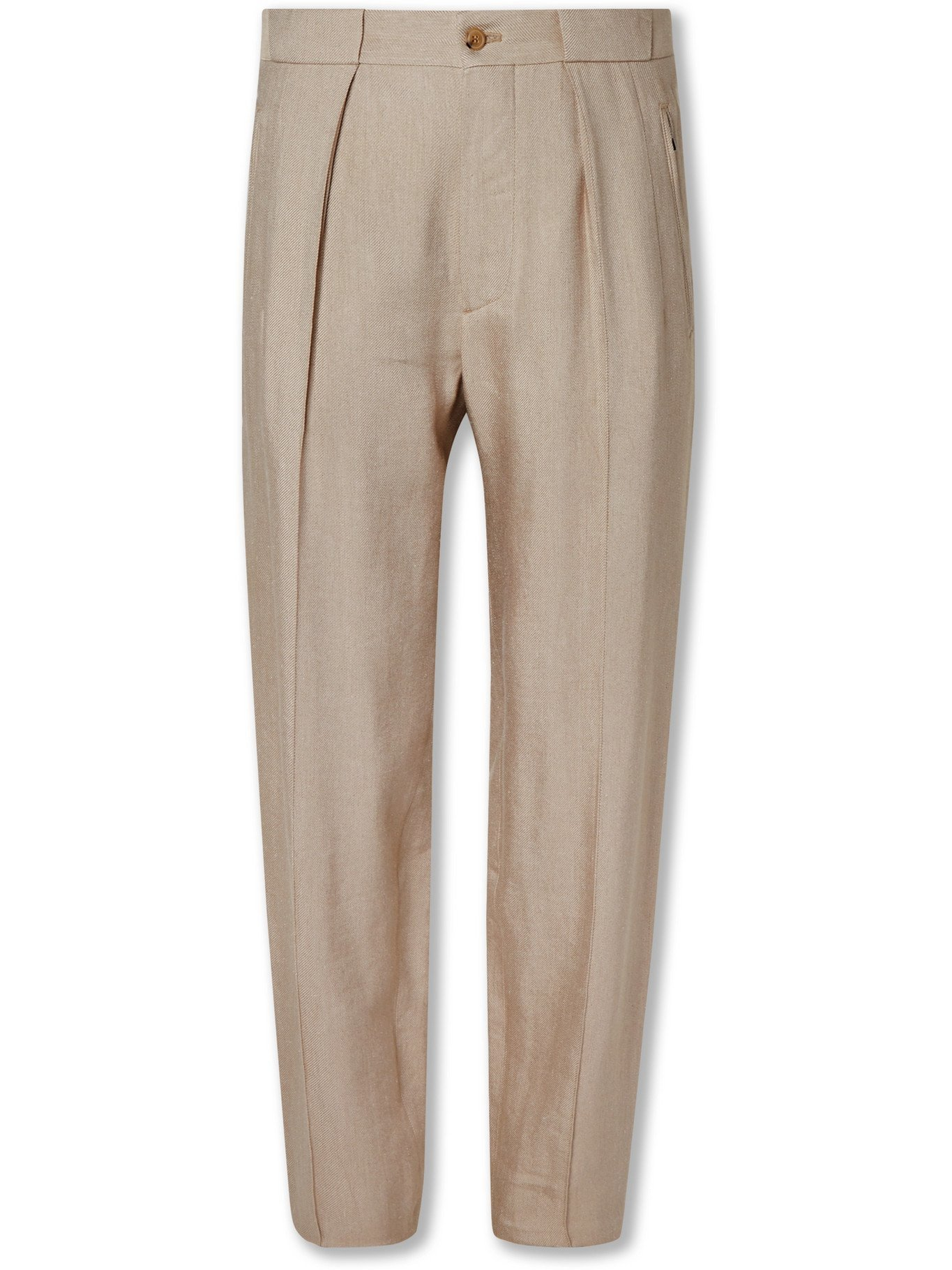 GIORGIO ARMANI - Tapered Pleated Twill Trousers - Neutrals - IT 48