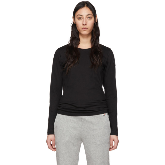 Photo: Moncler Black Logo Patch Long Sleeve T-Shirt