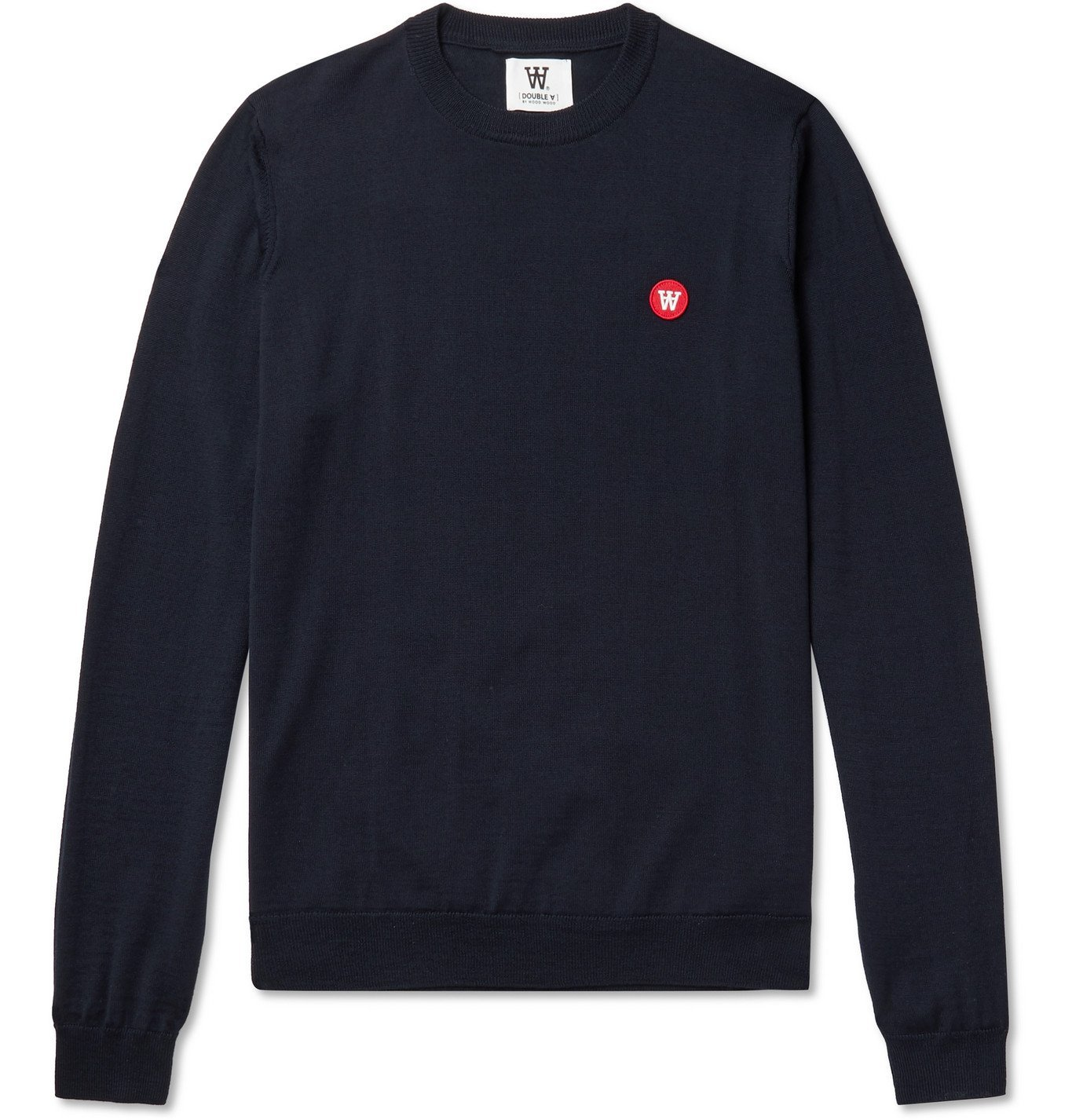 Photo: Wood Wood - Kip Logo-Appliquéd Merino Wool Sweater - Blue