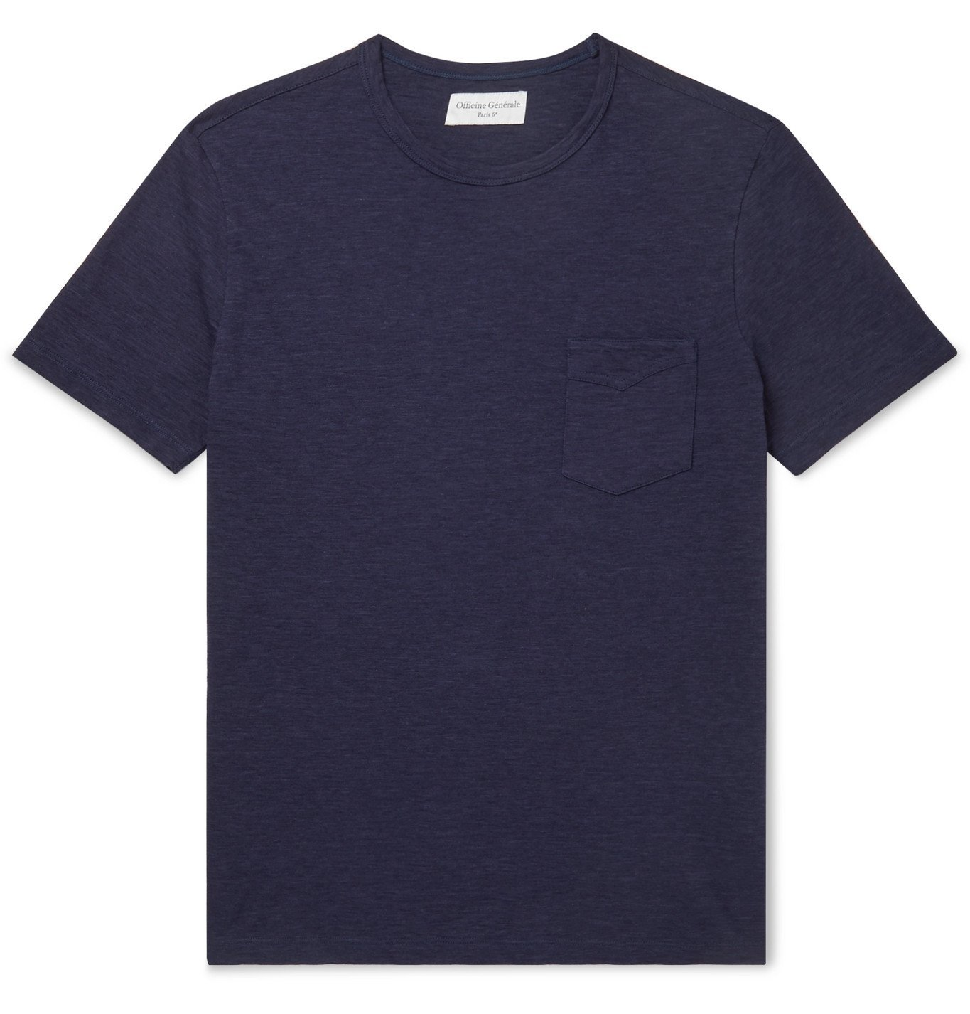 Photo: Officine Generale - Mélange Cotton-Jersey T-Shirt - Blue