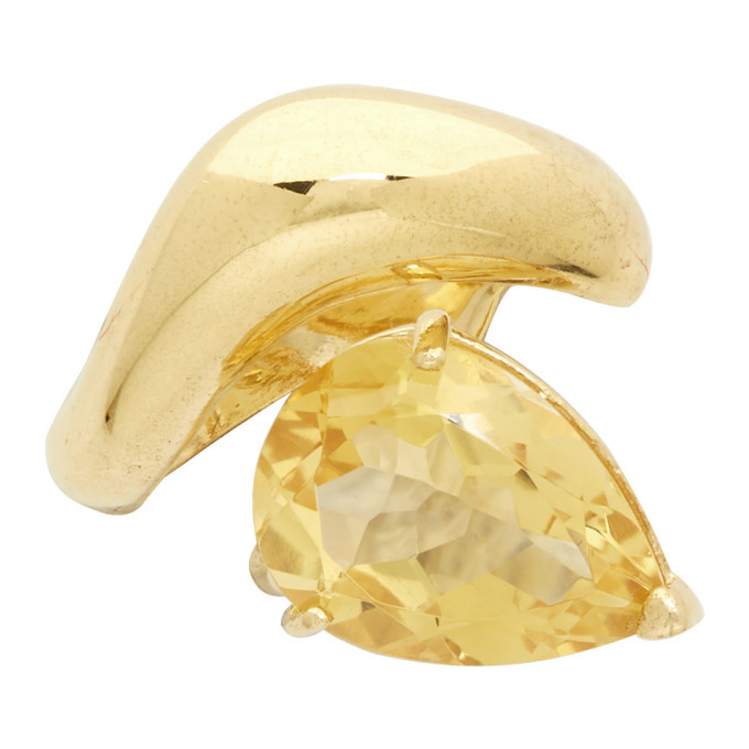 Photo: Alan Crocetti SSENSE Exclusive Gold and Yellow Citrine Single Right Drop Ear Cuff