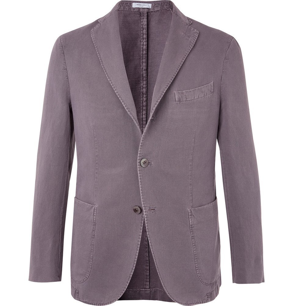 Photo: Boglioli - Grey K-Jacket Slim-Fit Unstructured Cotton-Blend Drill Blazer - Gray