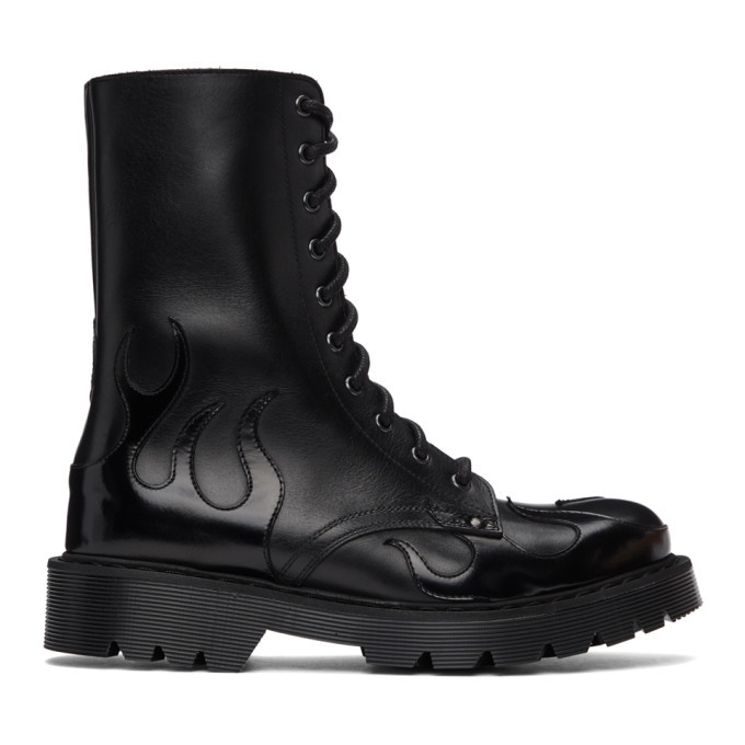 Photo: VETEMENTS Black Flame Lace-Up Military Boots