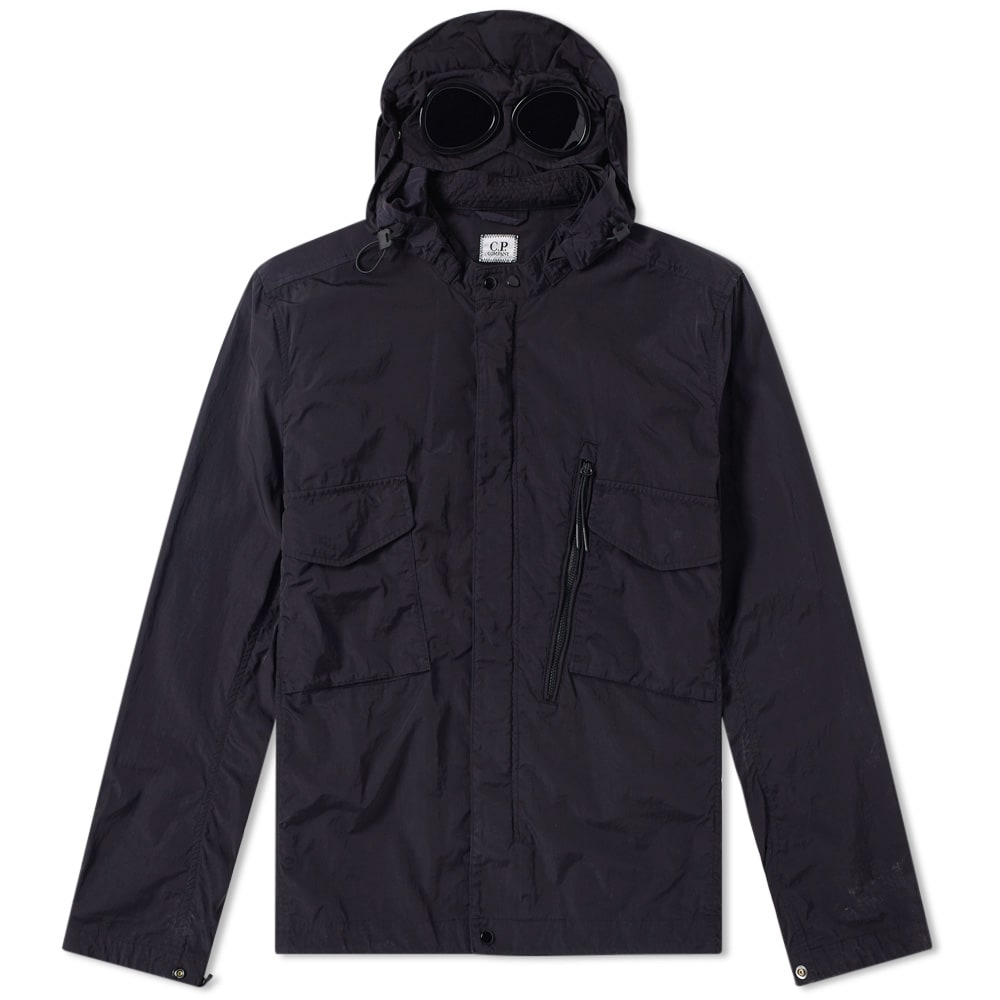 Photo: C.P. Company Chrome Goggle Hooded Shirt Jacket Blue