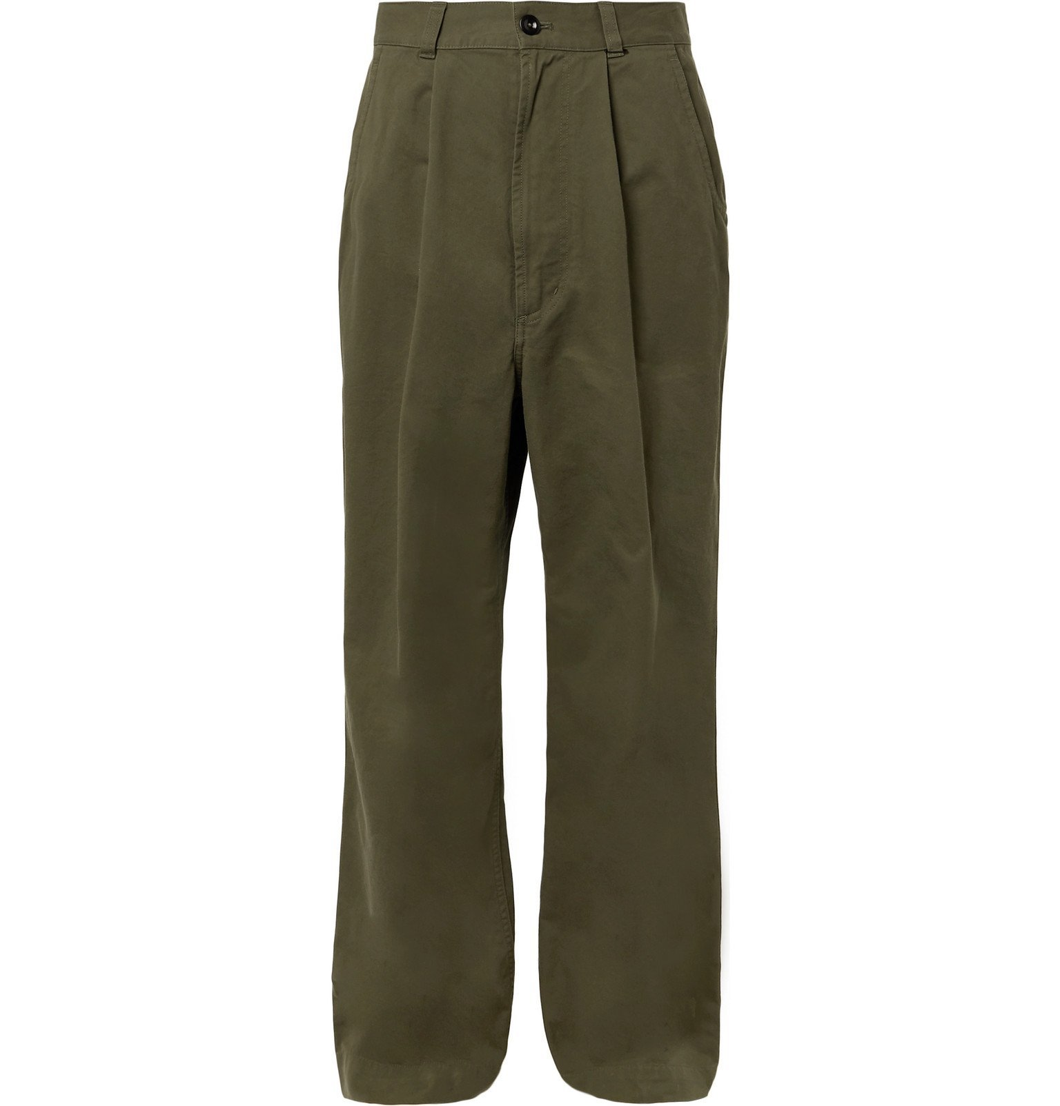 Margaret Howell - MHL Pleated Cotton-Drill Trousers - Green