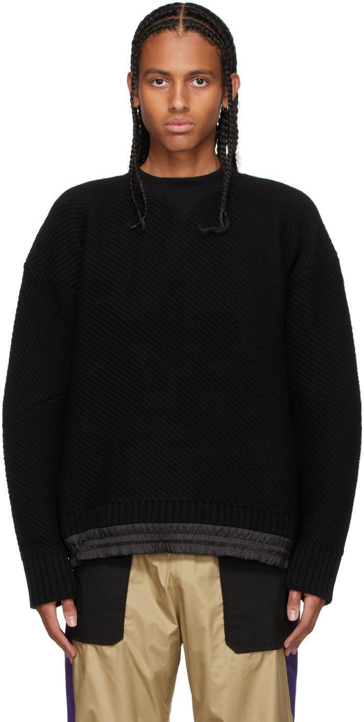 Photo: Sacai Black Knit Satin Hem Sweater