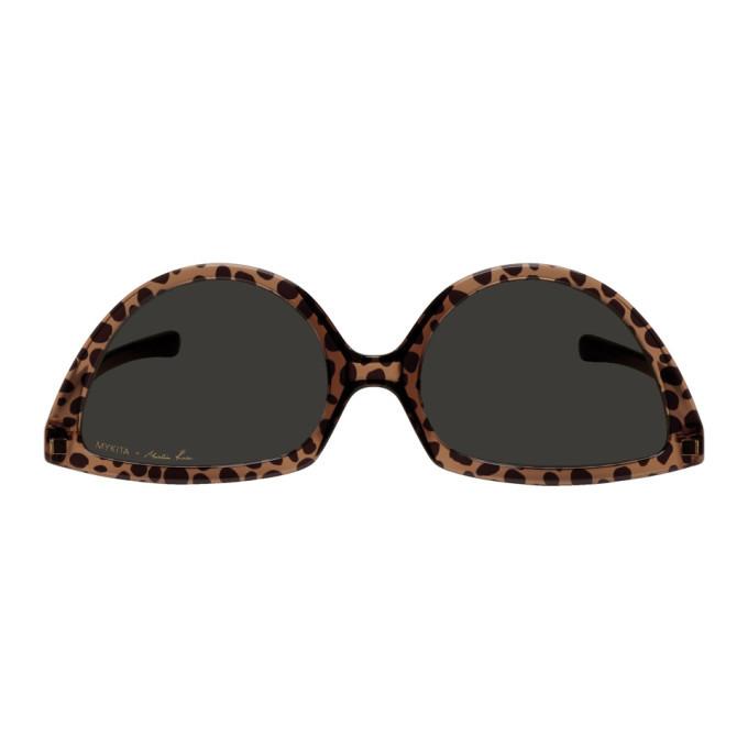 Martine Rose Brown and Yellow Mykita Edition Giraffe SOS Sunglasses