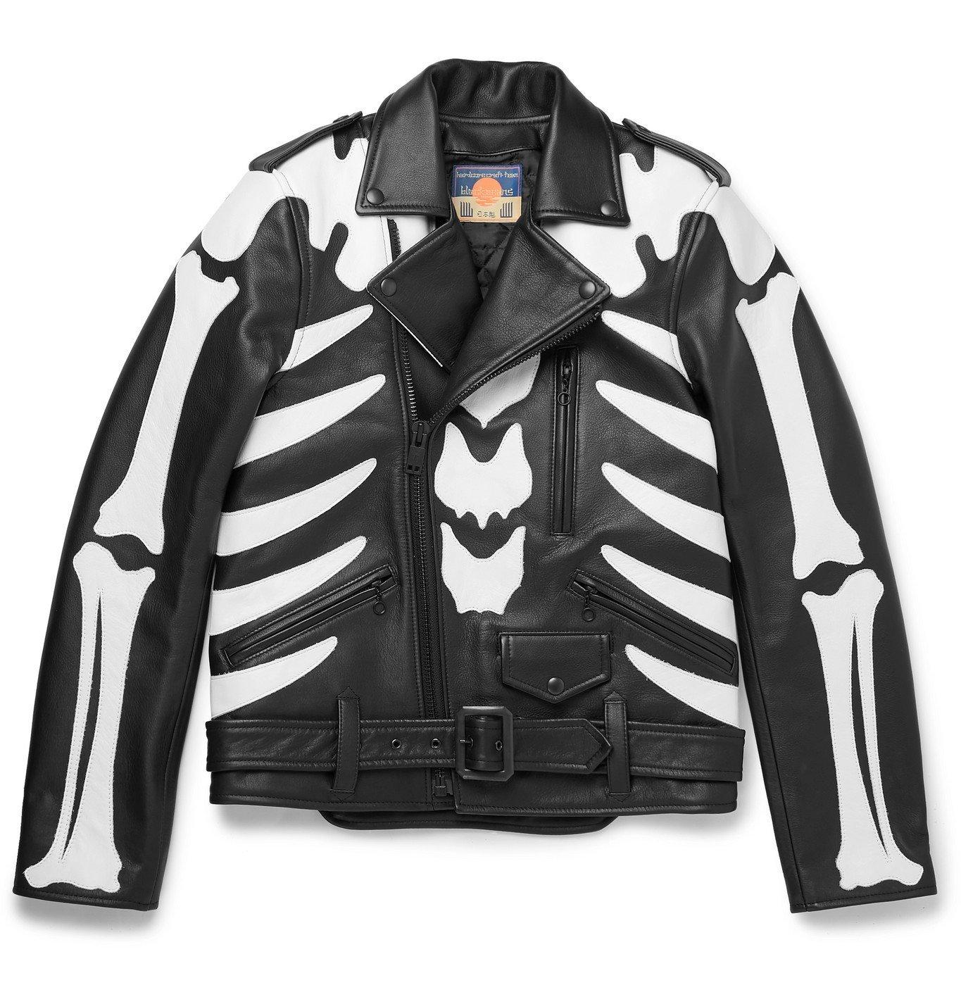 Photo: Blackmeans - Slim-Fit Appliquéd Leather Jacket - Black