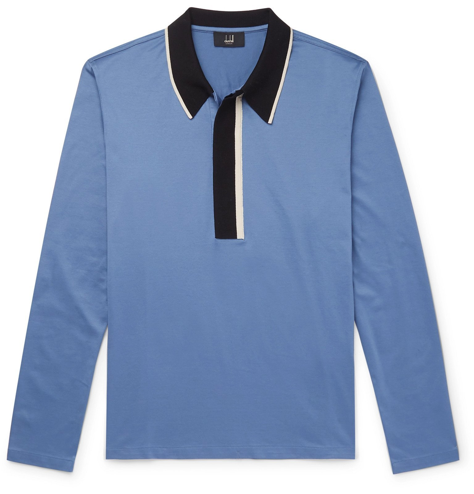 Photo: Dunhill - Slim-Fit Contrast-Tipped Cotton-Jersey Polo Shirt - Blue
