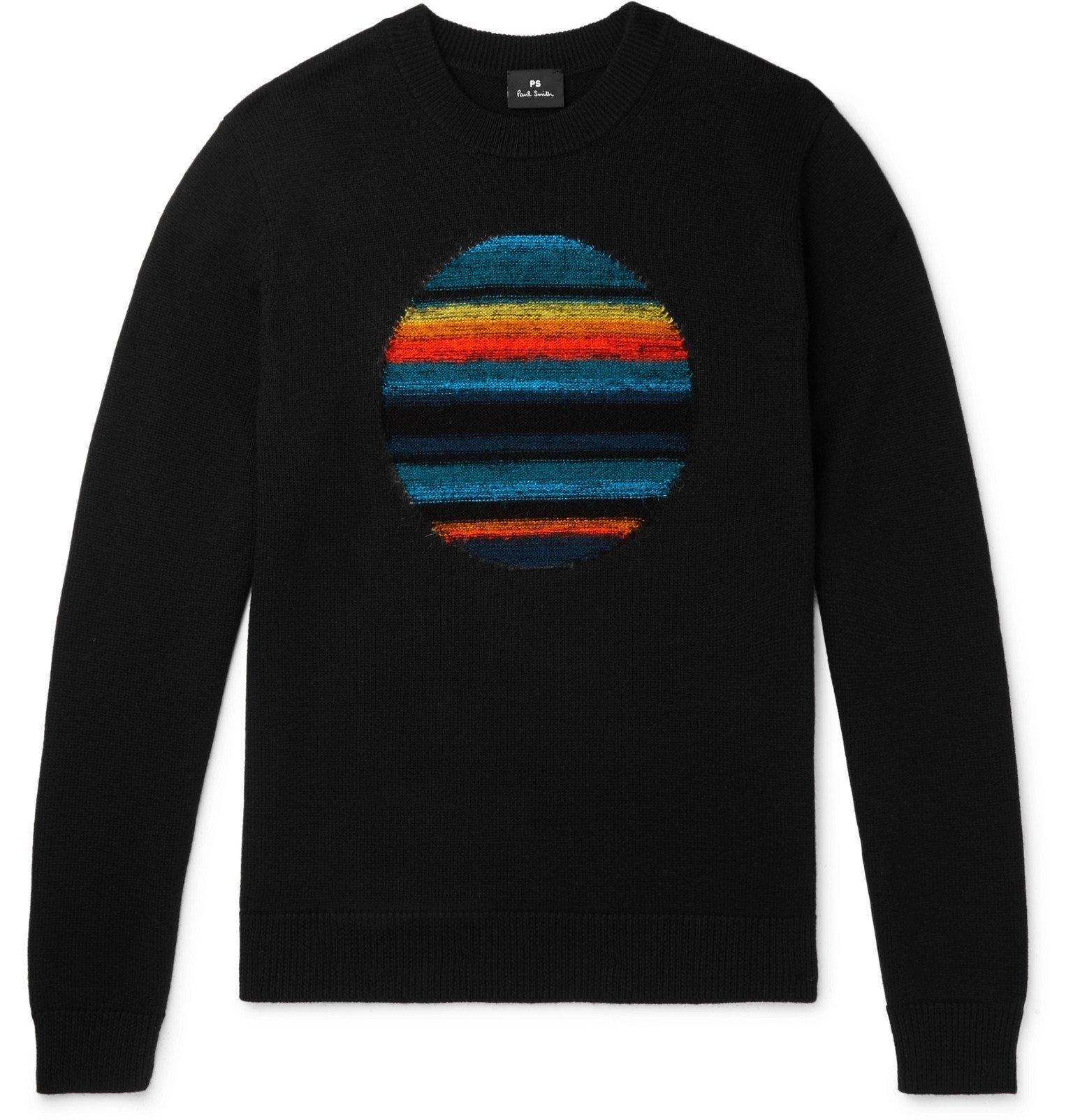 Photo: PS Paul Smith - Intarsia Wool-Blend Sweater - Black