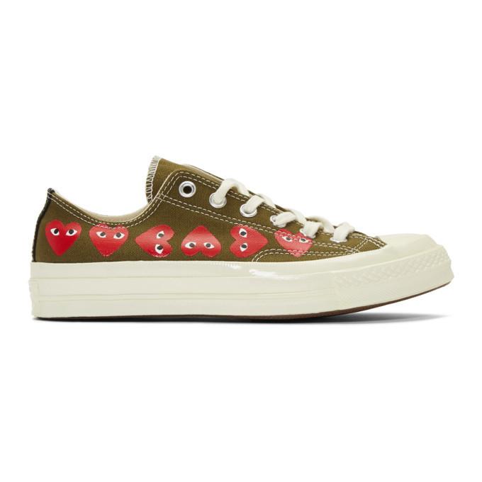 Photo: Comme des Garcons Play Khaki Converse Edition Multiple Hearts Chuck 70 Sneakers