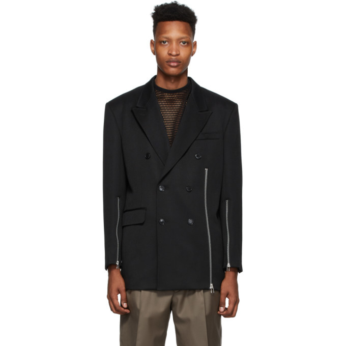 Photo: Johnlawrencesullivan Black Zip Double-Breasted Blazer